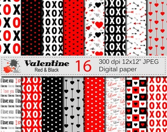 Valentine Digital Papers with Hearts and Arrows, Valentines Day Red and Black Digital Scrapbook Paper, Love Papers Digital Download