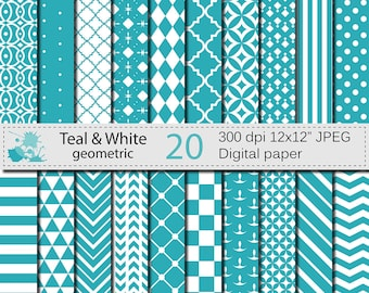 SALE 50% Teal and White Geometric Digital Paper Set, Geometric Digital papers, Teal White Scrapbooking papers, Instant Digital Download