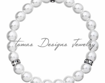 Bracelet Crystal Pearl w/ Swarovski Elements Crystals and Crystal Pearls - White