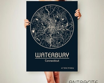WATERBURY Connecticut CANVAS Map Waterbury Connecticut Poster City Map Waterbury Connecticut Art Print Waterbury Connecticut poster
