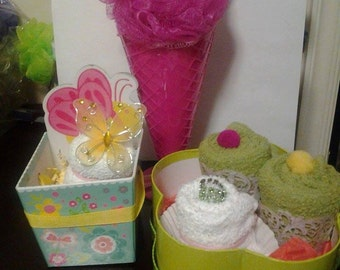 Washcloth Cupcakes & Ice Cream Soda