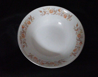 Vintage Carlton Fine China Rosealyn 520 Round White Vegetable Bowl