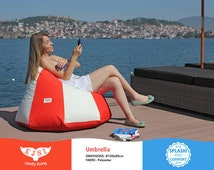 Outdoor bean bag chair Umbrella style, unique patio lounge chair, lazy bag from waterproof fabric (cover + insert)