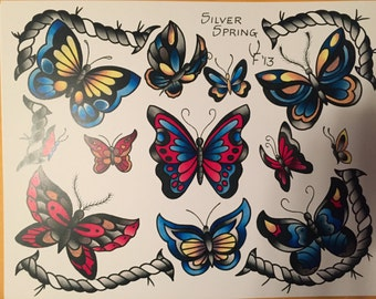 Butterfly Watercolor Tattoo Art Flash Print