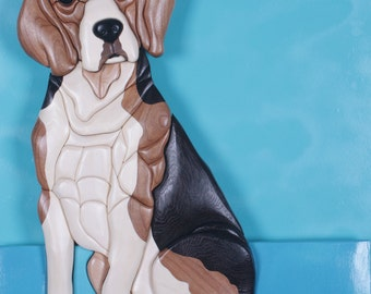 Beagle Intarsia Wood Sculpture