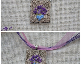 Embroidered Pendant Lavender bunch Floral jewellery Embroidered necklace Embroidered jewelry Gift For Women Hand embroidery Violet flower