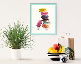 Macaroons. FASHION Illustration. INSTANT DOWNLOAD. Printable wall art. Home decor. Greeting card, gift