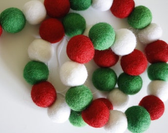 Pom Pom Garland - Felt Ball Christmas Garland - Holiday Mantle Decor - Red, White Green Garland - Merry & Bright + White