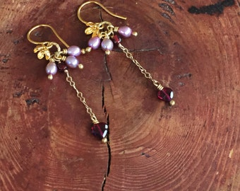 Red Garnet Flower Dangle Earring Romantic Birthstone January Gift for Her