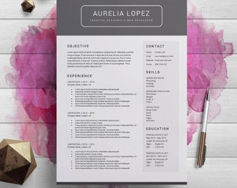 Curriculum Vitae Template, Professional Resume Template Word, Cover Letter, Creative Resume, Teacher Resume, Instant Download, Lopez