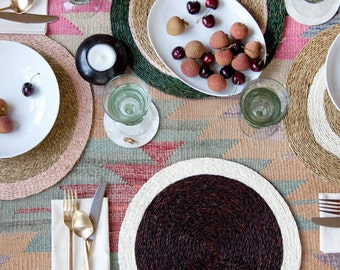 Set of 2 Hand Woven Placemats, Chocolate and Cream