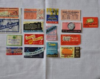 Group of 16 Vintage Western Union Telegram Poster Stamps - Cinderella Stamps - 1930s
