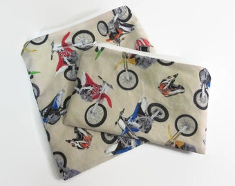 Reusable snack and sandwich bag set,  Food Grade PUL bags, dirt bike back to school, snack pouch, sandwich bag set, washable food storage