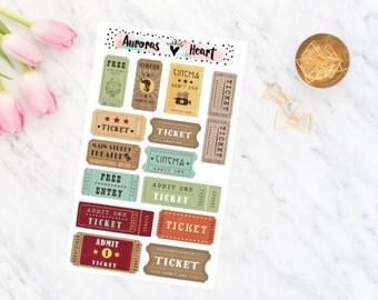 Tickets Vintage Retro Travel minimal planner stickers