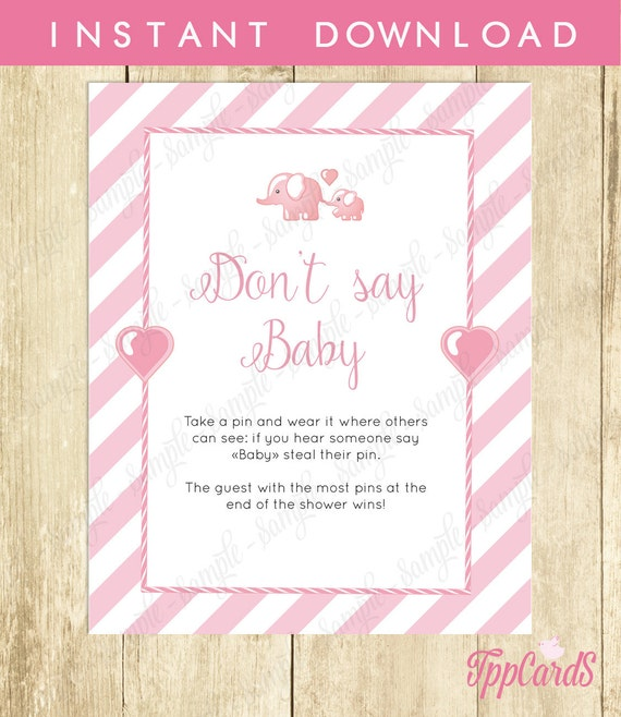 Don't Say Baby Game, Baby Shower Games, Printable Elephant