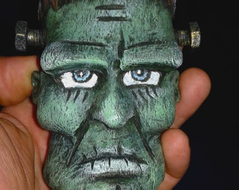 frankenstein wood carving