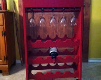Handcrafted Rolling Wine Cart