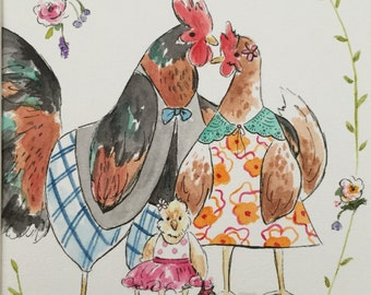 Custom family portrait, animal characters representing a family, watercolour painting