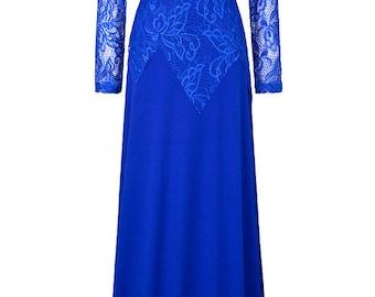 Royal blue Bridesmaid Dress, Vintage lace blue maxi dress, Royal blue party evening dress, Long Sleeves Lace wedding dress