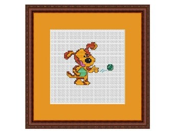 Dog With The Ball Counted Cross Stitch Pattern. PDF Instant Download. Pattern.
