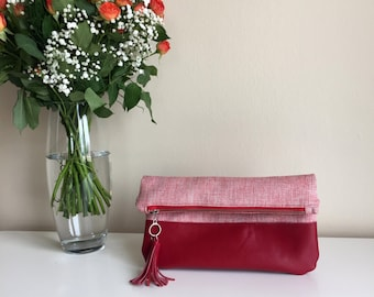 Red Leather Fold Over Clutch,Red Genuine Leather Bag,Red Leather Clutch,Red Leather Clutch Bag,Red Leather Purse,Leather Woven Clutch Bag