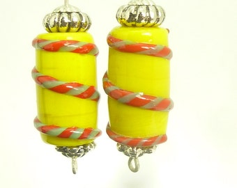 """Fused Glass """"Barber Pole"""" Dangle Earrings on 925 Sterling Silver Hoop Wires with Sterling Accents for pierced ears"""