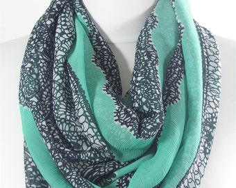 CREATED 28 pcs Lace Print Mint Scarf Infinity Loop Circle Scarf Spring Mothers Day Christmas Gift for her Fashion Travel Gift for Girlfriend