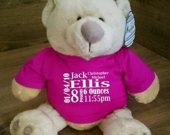 Personalised Honey Bear. Blue or Pink Hoodie. New Baby gifts. Available in Medium or Large.