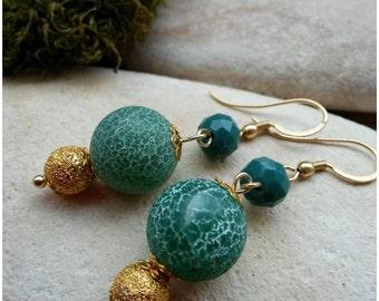 Green  Earrings | agate  Earrings | Statement Earrings | Gemston Earrings