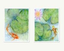 Koi watercolor print set, koi fish wall art, lotus flower watercolor abstract pond print, goldfish art, watercolor fish pond, lily pad art