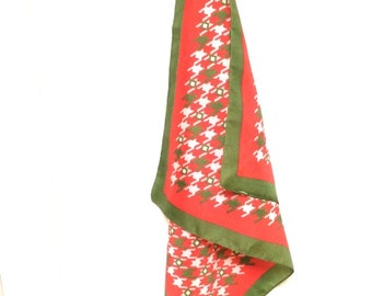 Vintage houndstooth red and green scarf
