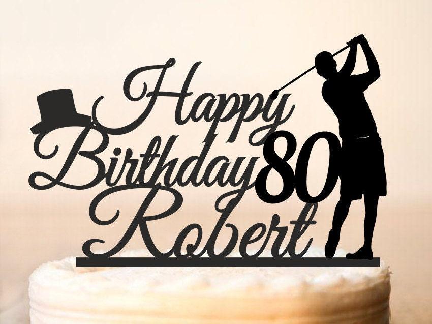 Golfing Cake Toppergolfing Silhouettes Cake Topper80th Happy