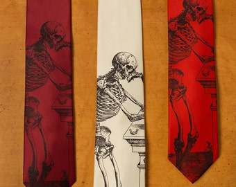 Skeleton Necktie - Skull Tie - Men's Necktie - Cool Tie - Men's Gift - Bones - Screen Printed Necktie