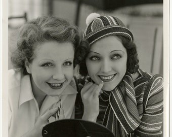 Golden Age of Hollywood Fashionista Adrienne Ames & Friend Portrait Vintage 1930s Art Deco Fashion Makeup Glamour Photograph