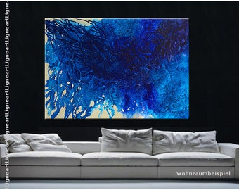 Large Contemporary art Handmade XXL heavy texture modern abstract painting blue white pearl