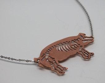Pig Skeleton copper necklace
