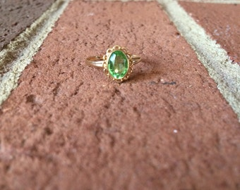 Green Peridot August Birthstone 10k Gold Ring