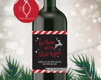 Holiday Wine Label, Christmas gift wine labels, christmas party wine labels, gift wine labels, style 509 Limelight Labels