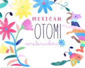 Otomi Clipart   Floral Mexican Clipart Animals - Watercolor Folk Graphics - Colorful Flowers, Wedding Invite - Digital Instant Download PNGs