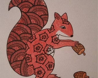 Red squirrel watercolour ink drawing henna mehndi original A081