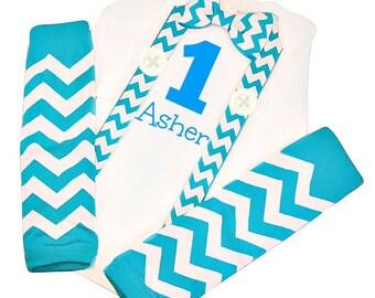 First Birthday Boy Outfit, Baby Boy Birthday Outfit, First Baby Boy Birthday Outfit, Boy First Birthday, Baby Blue Chevron Leg Warmers