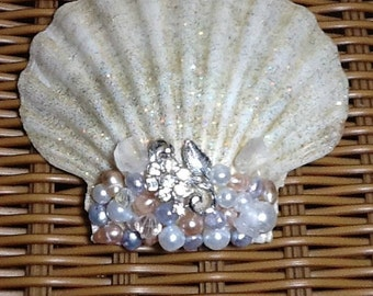 Shimmering Jeweled Seashell Beach Ocean Seaside Nautical Wedding Decor