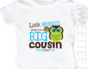 Big cousin Owl ShirtLook Whoo  Big Brother Sibling Announcement Personalized  Shirt