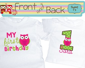 Owl First  Birthday Shirt Owl Girl Shirt Shirt Front and Back  Personalized Age Shirt Front and Back