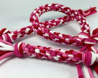 Valentine's Braided Rope Dog Toy made from Upcycled T-shirts Holiday Edition