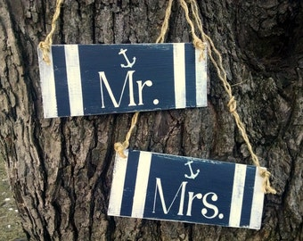 Nautical Wedding Signs, Mr. & Mrs., Chair Signs,  Navy Blue, Striped, Anchor Wedding, Wood Sign