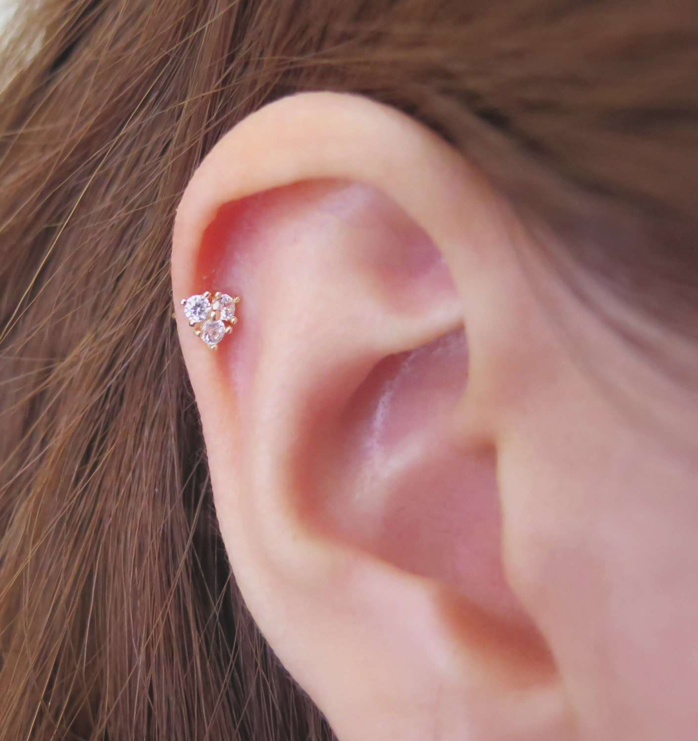 10K Solid Gold piercing Triangle Piercing Helix