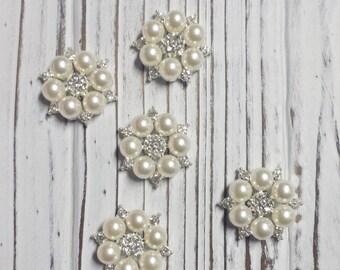 Pearl Rhinestone Flat Back Embellishment, Flower Centers, DIY, Overstock, Hair Bow Supplies - 5 Pcs