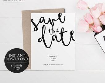 Printable Save The Date Calligraphy Invitation | Black and White | Editable Template | Instant Download | Save the Date | Modern | Nina