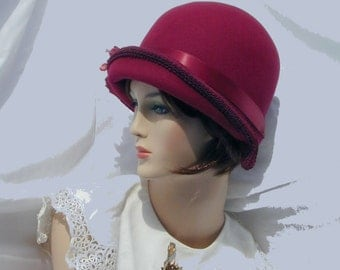Custom Convertible 3 in 1 asymmetrical cloche - Downton Abbey hat, Miss Fisher, Great Gatsby hat